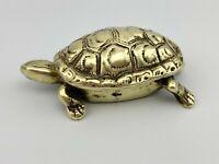 """Brass Turtle Peerage Miniature Hinged 4"""" Vintage Trinket Box - Ink Well  England"""