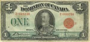 Canada $1 Dollar Large Size Dominion Currency Banknote 1923
