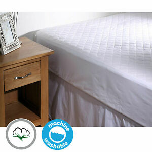 Natural 100% Cotton Filled & Quilted Mattress Protector Topper Underlay ALL SIZE