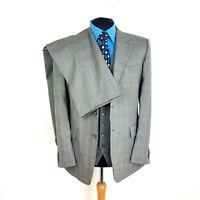 New & Lingwood Mens Suit 42S Grey Check Wool W36 L31 Regular Fit Straight Leg