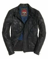 """New Mens Superdry Leather Rotor Jacket Black Size: XL 42"""" (107cm) RRP £199.99"""