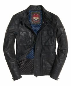 """New Men's Superdry Leather Rotor Jacket Black Size: XL 42"""" (107cm) RRP £199.99"""