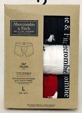 3 PK Abercrombie Fitch RED WHITE NAVY ELK LOGO Men Boxer Briefs Underwear LARGE
