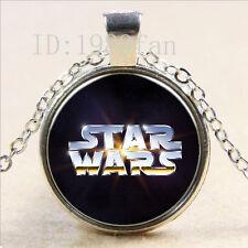 2016 Nuevo Star Wars Cabujón Plata tibetana Vidrio Cadena Colgante Collar KS6