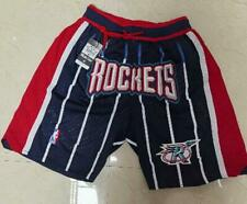 Houston Rockets JUST DON SHORTS NBA BLUE Sewn Size S-2XL High Quality