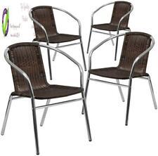 Flash Furniture 4 Pack Commercial Aluminum And Dark Brown Rattan Indoor-Outdoor