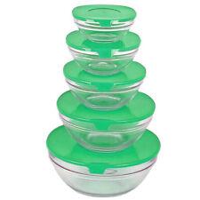 BAKAJI Set 5 Ciotole in Vetro Contenitori per Alimenti Impilabili Salvafreschezza con Coperchio Multicolor Arcobaleno