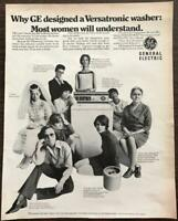 ORIGINAL 1968 General Electric Versatronic Washer PRINT AD Groovy Sixties Women