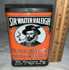 ANTIQUE SIR WALTER RALEIGH TOBACCO TIN LITHO VERTICAL POCKET VARIATION 3 SMOKING
