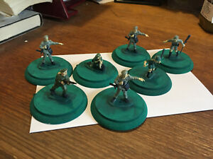 Lot of 7 painted on wooden base 1/35 scale ANZAC British soldiers