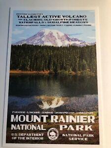 Mount Rainier National Park Volcano WPA Style Art Postcard New