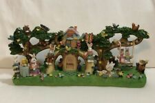 """Large Vintage Hand Painted 14.5"""" Easter Bunny City Tabletop Village Decor Spring"""