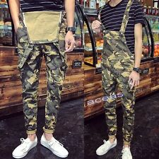 Fashion Men's Camo Slim Fit Pants Suspender Trousers Overalls Skinny Jeans Vogue