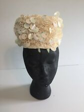Vintage Pill Box Off White Iridescent Sequin Hat - Made in Italy