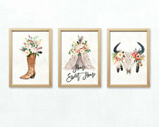 Home Sweet Home Western Deko Wandbild Set Texas Stiefel Blumen Zelt Poster Bild