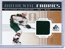 11-12 2011-12 SP GAME USED GUILLAUME LATENDRESSE GOLD AUTHENTIC FABRICS JERSEY