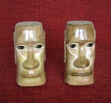 Vintage Easter Island Moai, Tiki Salt and Pepper Shakers,Otagiri Imports, Japan