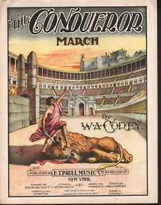 Conqueror March 1898 Large Format Sheet Music