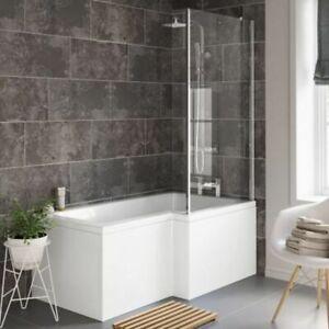 L Shape Bath 1700mm Shower Bath Tub L Shaped Front Panel Glass Shower Screen