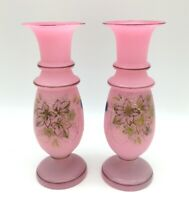"""Victorian Satin Glass Pair of Pink hand painted Vases 9.5"""" Tall Matched Set"""