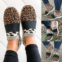 Womens Comfy Pumps Shoes Knitted Leopard Moccasins Slip On Loafers Flat Sneakers