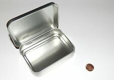 8 oz. Rectangular Hinged Survival Metal Tin Can Container Box Use For Crafts NEW