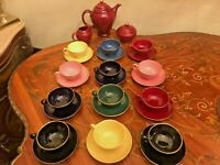 Rare Vintage 12 Cups Saucers Full Porcelain Coffee Set Danish Rambusch