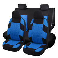 Sport Embroidery Car Seat Cover Full Set Front + Rear Interior Accessories Blue