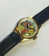 Vintage NOS 1960's Bader Swiss Mechanical Moving Rooster Head Farm Scene Watch