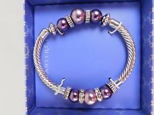Charter Club Silver-Tone Purple Beaded Bangle Bracelet #1110