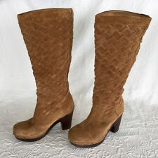 UGG Chestnut Suede Leather  High Heel Boots Western Weave 38-39 size 8