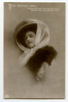 c 1910 Early Automobile Garb MOTOR GIRL Big Hat Fashion British photo postcard
