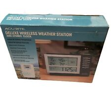Acu Rite Deluxe Wireless Weather Station Atomic Clock Humidity Forecast 00973