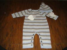 NWT NEW PETIT PATAPON 1-3M 0-3 BLUE STRIPED OUTFIT AND MATCHING HAT LOT