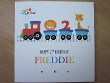 Personalised Handmade Boys Train 2nd Second Birthday Card - Son Grandson Nephew