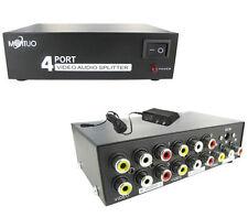 1 In 4 Out 4 Ports RCA AV Audio Video Switch Splitter Box for HDTV DVD LCD