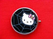 HELLO SPIDER WEB KITTY CAT ROUND METAL PILL MINT BOX