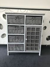 Grey Rustic Storage Unit Cupboard Chest of Drawers Wicker Baskets Vintage Rattan