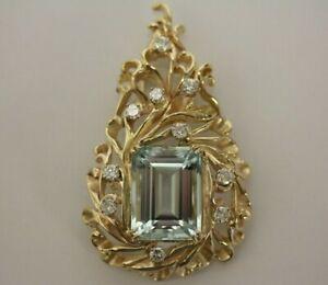 GIA Certified 18.21 Carat Natural Aquamarine & Diamond Pendant 14k Yellow Gold