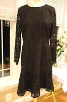 NWT J Crew lace long sleeve black dress size 14 (Dr1000