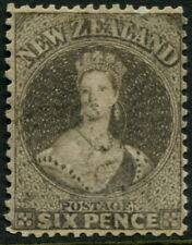 NEW ZEALAND - 1862 QV 6d 'BLACK-BROWN' VFU SG75 Cv £225 [A6576]
