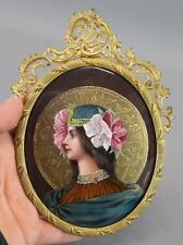 Antique Dorval French Art Nouveau Lady Enamel on Copper Miniature Painting