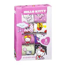HELLO KITTY STICKER BOX 8 ROLLS GIRLS FUN CRAFTS BIRTHDAY CARDS PINK GIFT NEW