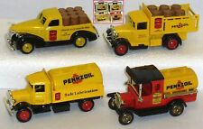 4  x PENNZOIL – Chevy Pick Up, Ford A Stake Truck, Mack & Ford T Tankers – Lledo