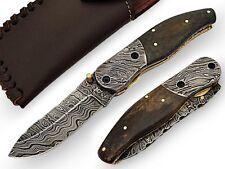 New Amraam Quality Pocket Knife Damascus steel Blade Brown Bone Handle Handmade