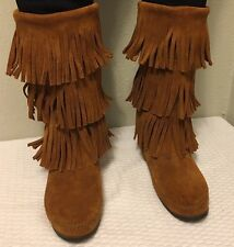 """Minnetonka Fringe Boots 8 Brown Suede Moccasins 3 Tier 12"""" Tall EUC"""