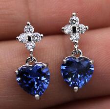 18K White Gold Filled - 7MM Heart Navy Blue Topaz Zircon Wedding Gems Earrings