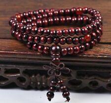 Sandalwood Buddhist Meditation 6mm*108 Prayer Bead Mala Bracelet/Necklace RED TY