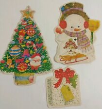 Vintage Giordano Christmas Bulletin Board Double Sided Cards Snowman Tree