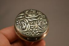 Antique Victorian Sterling Silver Rose Pill Box Artist Signed 41.87 g.